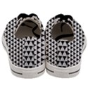 Diamond Pattern White Black Men s Low Top Canvas Sneakers View4