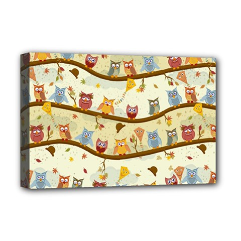 Autumn Owls Pattern Deluxe Canvas 18  X 12   by Celenk