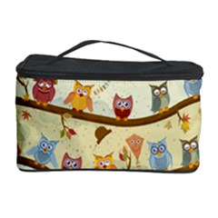 Autumn Owls Pattern Cosmetic Storage Case by Celenk