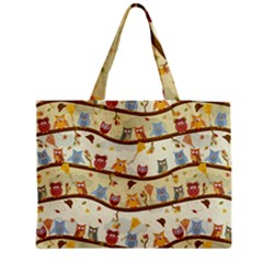 Autumn Owls Pattern Medium Tote Bag by Celenk