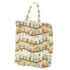 Autumn Owls Pattern Giant Grocery Zipper Tote by Celenk