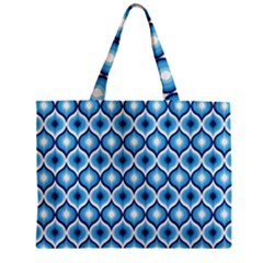 Blue Leaves Eyes Zipper Mini Tote Bag by Cveti