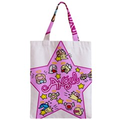 Pink Angel Star Zipper Classic Tote Bag by Celenk