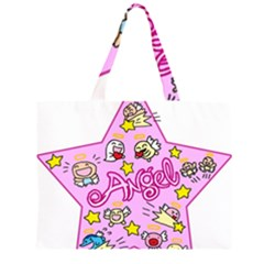 Pink Angel Star Zipper Large Tote Bag