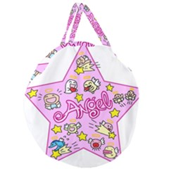 Pink Angel Star Giant Round Zipper Tote by Celenk