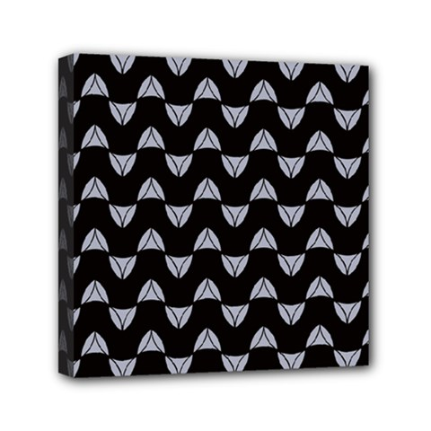 Wave Pattern Black Grey Mini Canvas 6  X 6