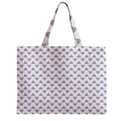 Wave Pattern White Grey Zipper Mini Tote Bag by Cveti