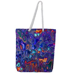Melted Fractal 1b Full Print Rope Handle Tote (large)