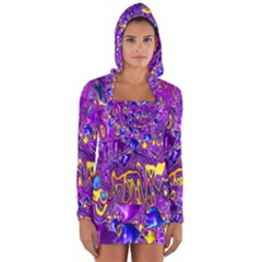 Melted Fractal 1a Long Sleeve Hooded T Shirt