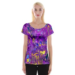 Melted Fractal 1a Cap Sleeve Tops by MoreColorsinLife