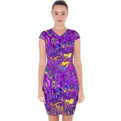 Melted Fractal 1a Capsleeve Drawstring Dress