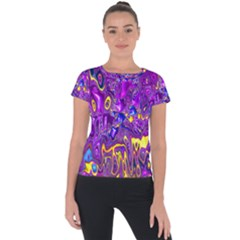 Melted Fractal 1a Short Sleeve Sports Top  by MoreColorsinLife