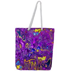 Melted Fractal 1a Full Print Rope Handle Tote (large) by MoreColorsinLife