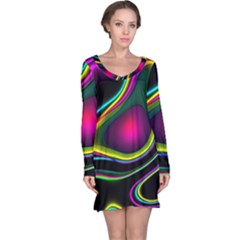 Vibrant Fantasy 5 Long Sleeve Nightdress by MoreColorsinLife