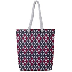 Rhomboids Pattern Red Grey Full Print Rope Handle Bag (small) by Cveti