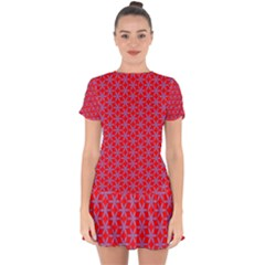 Flower Of Life Pattern Red Purle Drop Hem Mini Chiffon Dress by Cveti