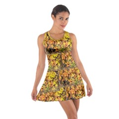 Green & Yellow Leaves Cotton Racerback Dress