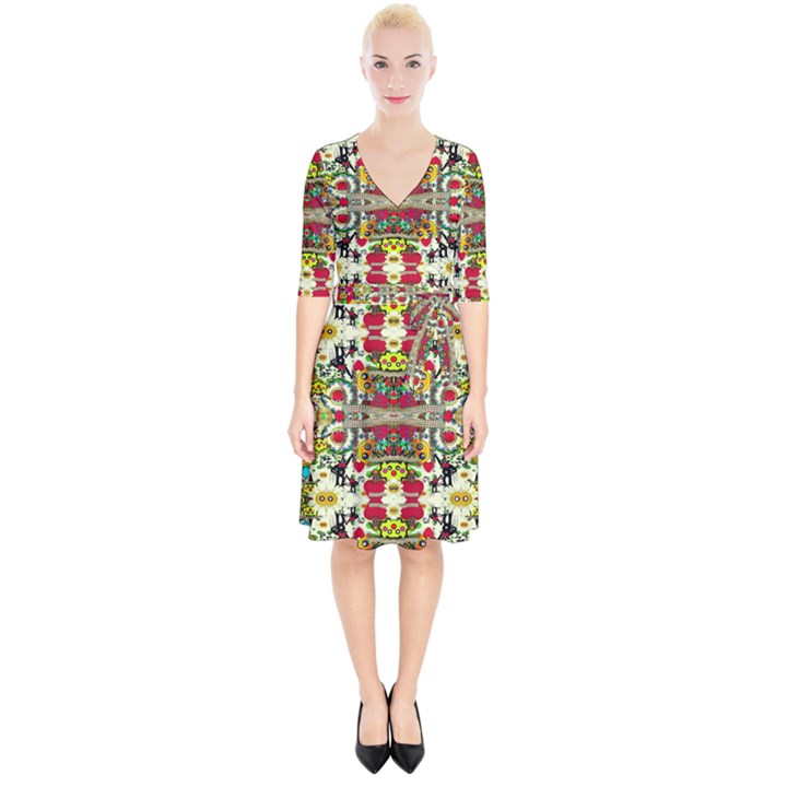 Chicken Monkeys Smile In The Floral Nature Looking Hot Wrap Up Cocktail Dress