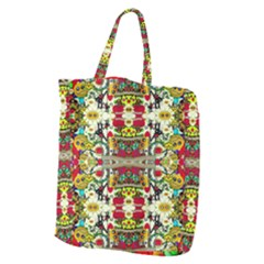 Chicken Monkeys Smile In The Floral Nature Looking Hot Giant Grocery Zipper Tote by pepitasart