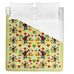 Santa With Friends And Season Love Duvet Cover (queen Size) by pepitasart