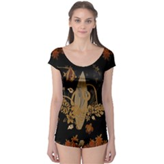 Hawaiian, Tropical Design With Surfboard Boyleg Leotard  by FantasyWorld7