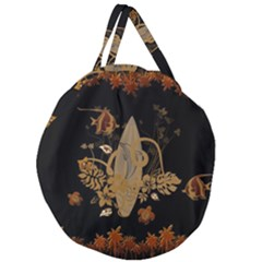 Hawaiian, Tropical Design With Surfboard Giant Round Zipper Tote
