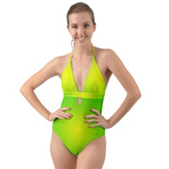 Pattern Halter Cut-out One Piece Swimsuit by gasi