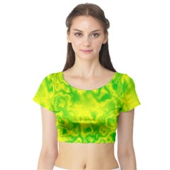 Pattern Short Sleeve Crop Top by gasi