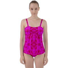 Pattern Twist Front Tankini Set