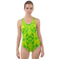 Pattern Cut Out Back One Piece Swimsuit