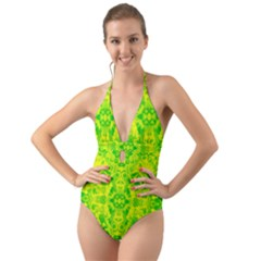 Pattern Halter Cut Out One Piece Swimsuit