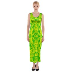 Pattern Fitted Maxi Dress by gasi