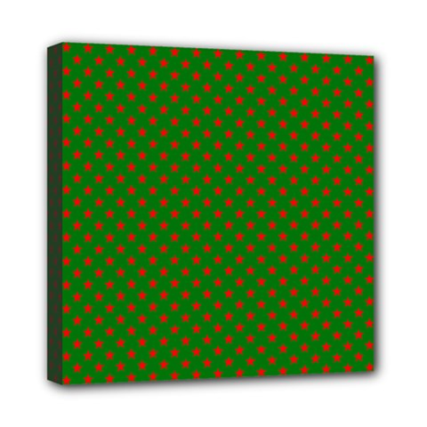 Red Stars On Christmas Green Background Mini Canvas 8  X 8  by PodArtist