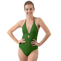 Red Stars On Christmas Green Background Halter Cut Out One Piece Swimsuit by PodArtist