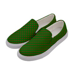 Red Stars On Christmas Green Background Women s Canvas Slip Ons by PodArtist