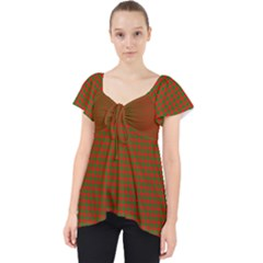 Classic Christmas Red And Green Houndstooth Check Pattern Lace Front Dolly Top by PodArtist