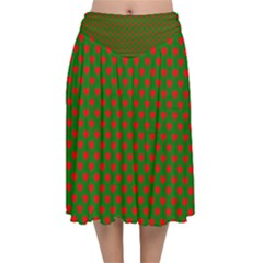 Large Red Christmas Hearts On Green Velvet Flared Midi Skirt by PodArtist