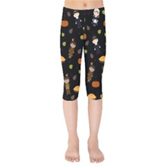 Pilgrims And Indians Pattern - Thanksgiving Kids  Capri Leggings  by Valentinaart