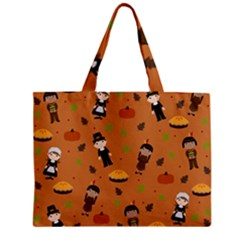 Pilgrims And Indians Pattern   Thanksgiving Zipper Mini Tote Bag by Valentinaart