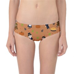 Pilgrims And Indians Pattern   Thanksgiving Classic Bikini Bottoms