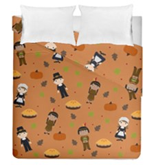 Pilgrims And Indians Pattern   Thanksgiving Duvet Cover Double Side (queen Size)