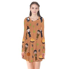 Pilgrims And Indians Pattern   Thanksgiving Flare Dress