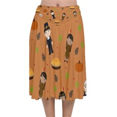Pilgrims And Indians Pattern   Thanksgiving Velvet Flared Midi Skirt