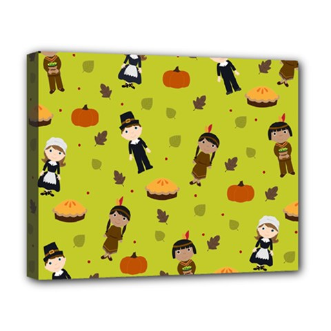 Pilgrims And Indians Pattern   Thanksgiving Deluxe Canvas 20  X 16