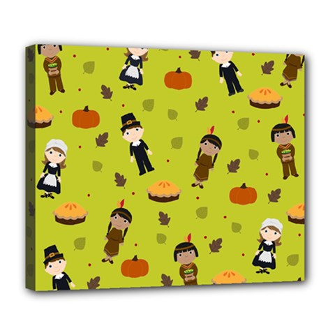 Pilgrims And Indians Pattern   Thanksgiving Deluxe Canvas 24  X 20   by Valentinaart