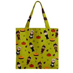 Pilgrims And Indians Pattern   Thanksgiving Zipper Grocery Tote Bag by Valentinaart