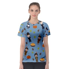 Pilgrims And Indians Pattern   Thanksgiving Women s Sport Mesh Tee