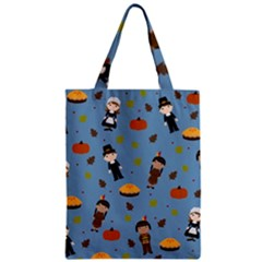 Pilgrims And Indians Pattern   Thanksgiving Zipper Classic Tote Bag by Valentinaart