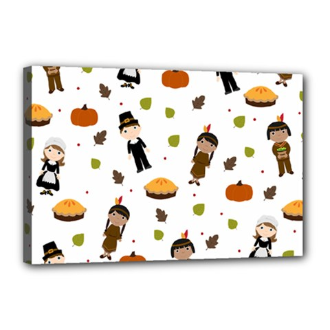 Pilgrims And Indians Pattern   Thanksgiving Canvas 18  X 12