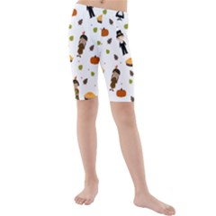 Pilgrims And Indians Pattern   Thanksgiving Kids  Mid Length Swim Shorts